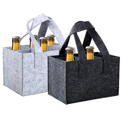 VINFUTUR 2pcs Bolsa Botellas Cerveza Bolsa Fieltro para 6 ...