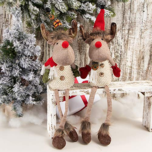 XAMSHOR Handmade Christmas Moose Sitting Reindeer with Bendable Hat Stuffed Figurine Gift for Holiday Decorations 2 Pack (Whimsical Christmas Decorations)