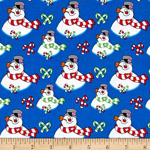 Quilting Treasures QT Fabrics Frosty the Snowman Everyone's Fav Snowman Toss Royal Blue