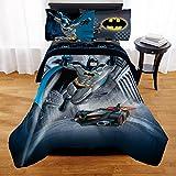 4 Piece Grey Blue Black Batman Superhero Theme Sheet Set Twin/ Full Size, Beautiful Kids Animated Movies Character, Comic Marvels Superheroes, Batmobile Print Bedding, Bold Colors, Quality Polyester