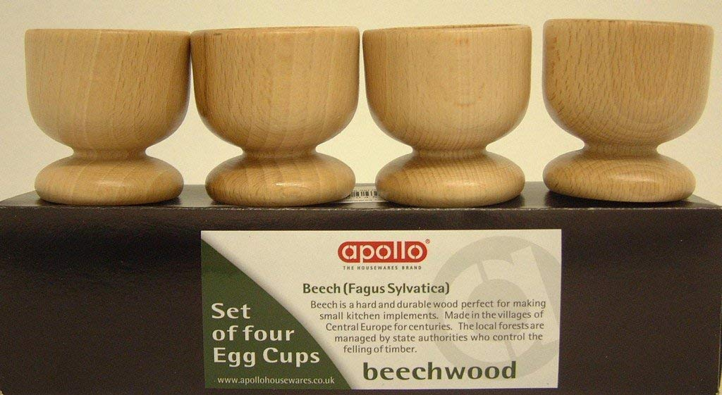 Apollo Beech 4 Egg Cup Set Natural Wood 24x5.5x5.5