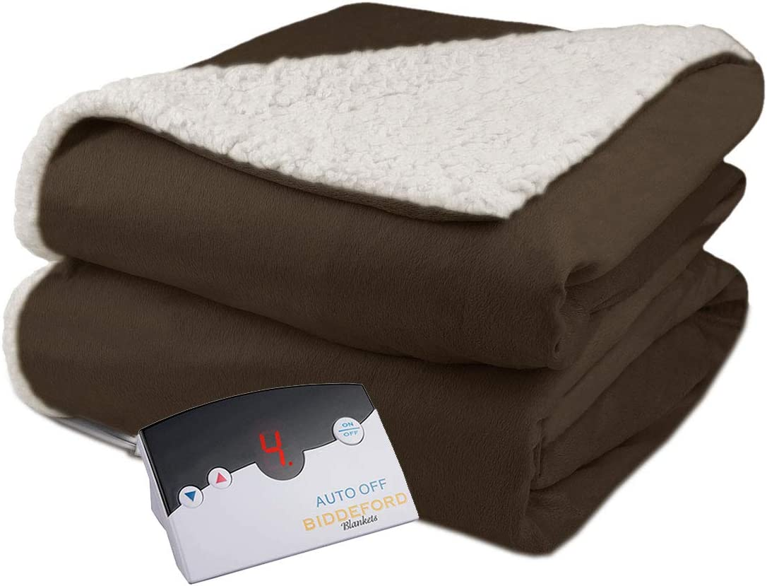 Biddeford Velour Sherpa Electric Heated Warming Blanket Full Chocolate Brown Washable Auto Shut Off 10 Heat Settings