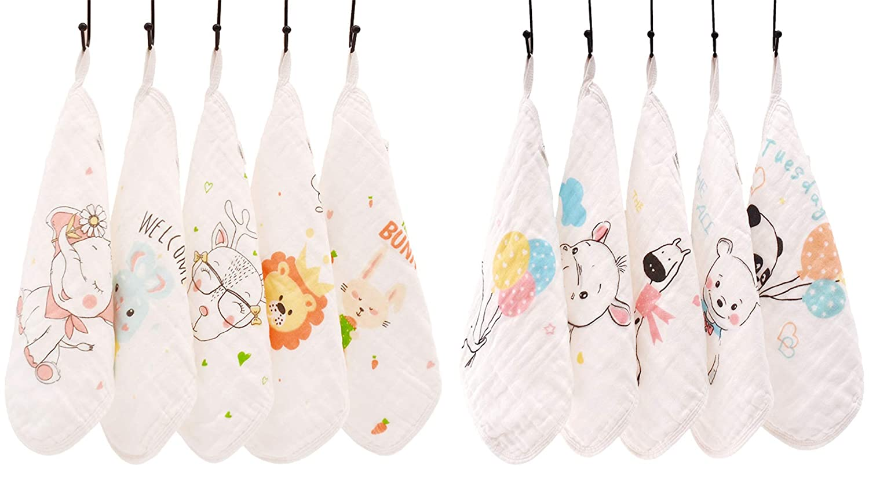 9 Pack Soft Newborn Baby Face Towel Hayisugar Baby Muslin Cotton Washcloths Set 6 Layer 30X30CM Natural Muslin Cloths Baby Wipes Extra Soft Wash Cloth