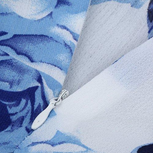Robe Femme Bohme d'honneur Chic Soire Robe Fashion Casual Plage longue V Sexy Manche Robe Femme Longue Demoiselle Robe t Robe Bleu Sunenjoy Maxi Imprime Col wEgv1q5