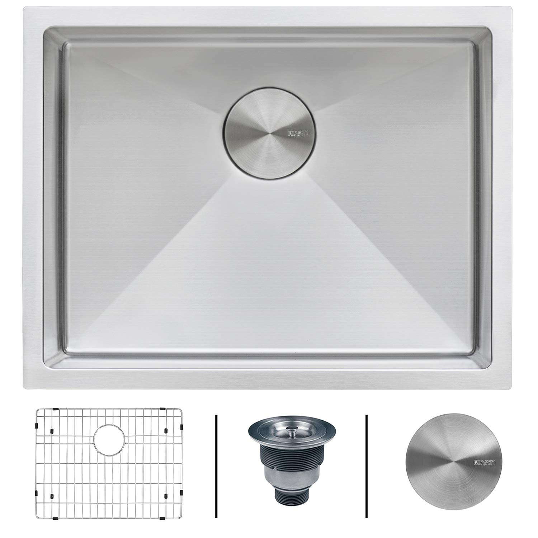 Ruvati 23-inch Undermount 16 Gauge Tight Radius Stainless Steel Kitchen Sink Single Bowl - RVH7123 by Ruvati