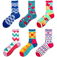 TFun 6 Pairs Men's Fashion Funky Novelty Cool Colorful Design Comfort Cotton Casual Dress Crew Socks