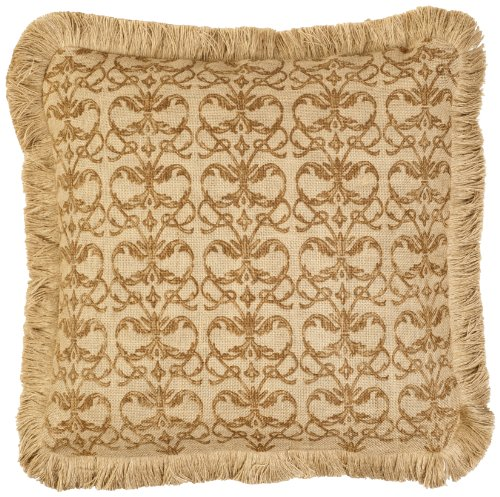 ZENTIQUE Repeat Square Burlap Pillow with Jute Brush Fringe, 20-Inch, Brown/Damask