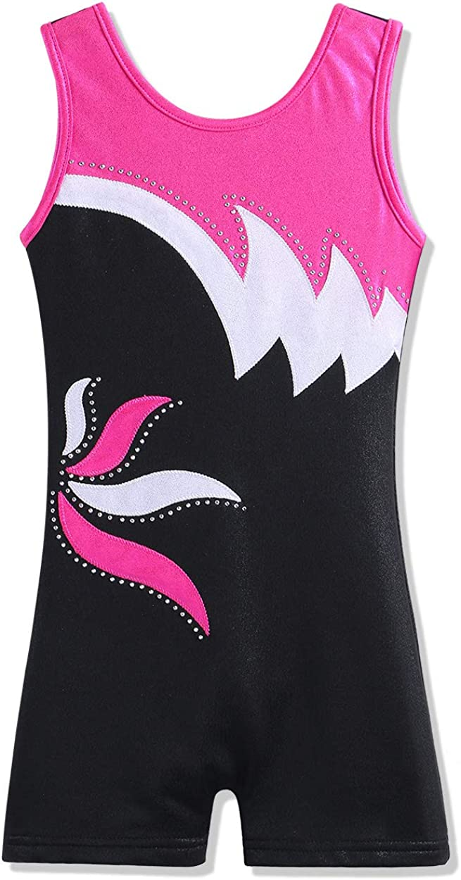 Leotard for Girls Gymnastics Toddler Tank Biketards Shorts Shiny Scale Diamond Kids Dancewear