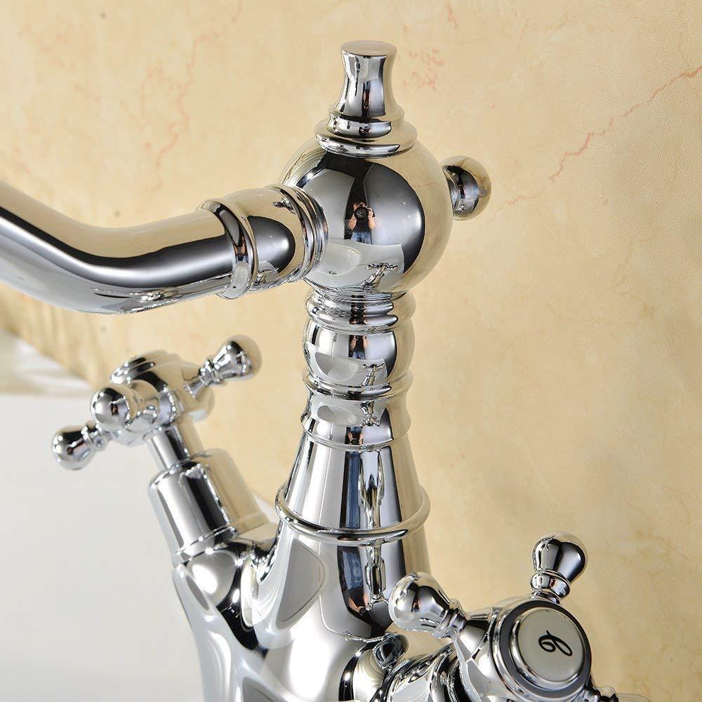 Hiendure/® ottone ponte montato cucina rubinetto lavabo lavandino rubinetto del bagno bocca girevole due manici cromato