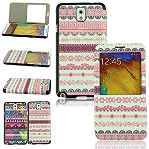 Voberry Newest Hot Sale Beautiful Colorful Flip Leather Cover Stand Case View Case For Samsung Galaxy Note 3 N9000 (2)