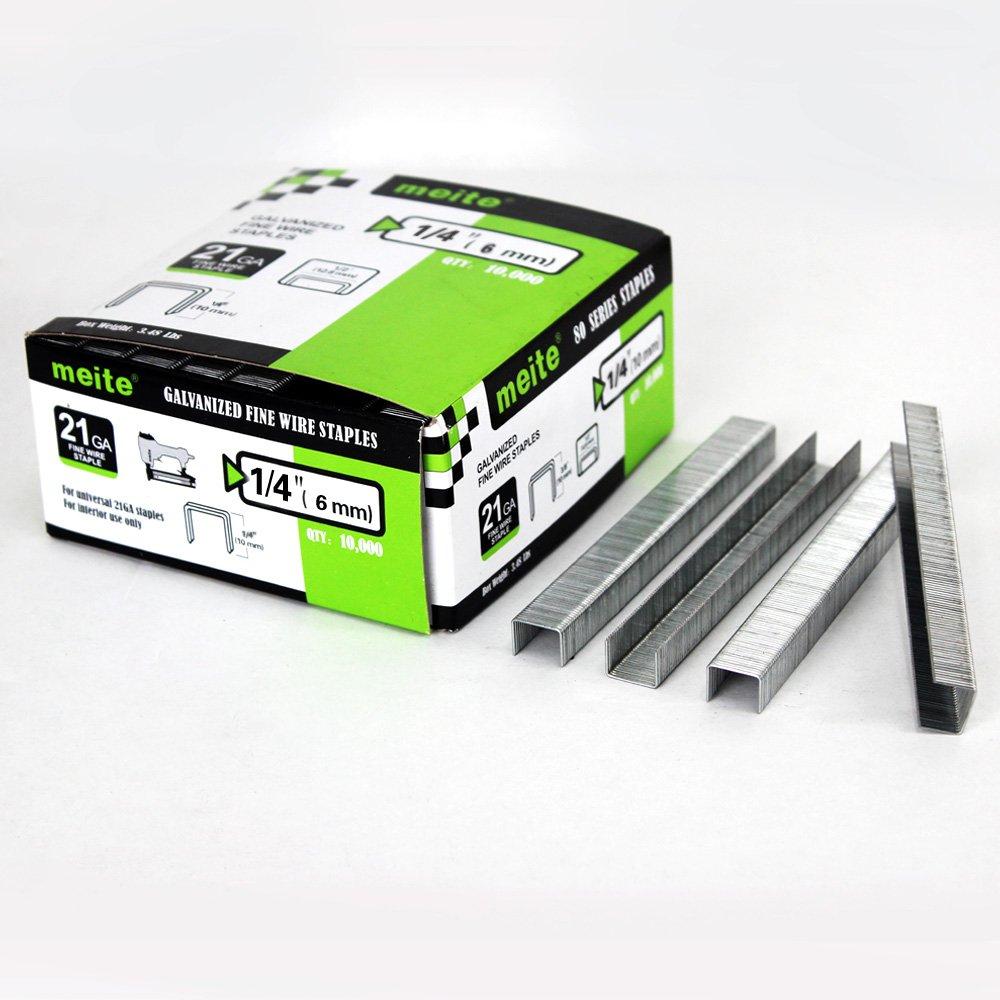 1 Box meite 21 Gauge 1//2-Inch Crown 1//4-Inch Leg Length Galvanized Fine Wire Staples Upholstery Staples for MT8016 Stapler 10000 PCS//Box