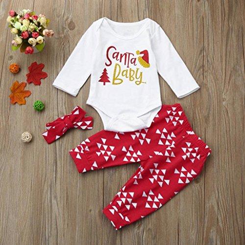 Omiky® 3Pcs Infant Baby Boy Strampler + Hosen + Stirnband Weihnachten Outfits Set Kleidung Weiß