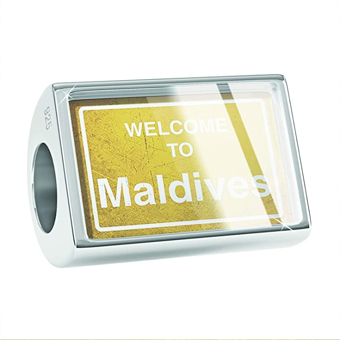 NEONBLOND Custom Charm Yellow Road Sign Welcome to Maldives 925 Sterling Silver Bead