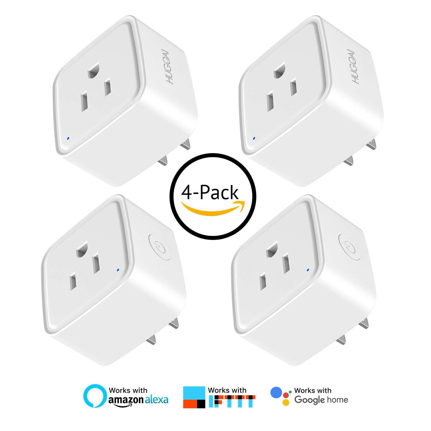 WiFi Smart Plug, HUGOAI Wifi Smart Outlet Wireless Socket 4 Packs, Compatible with Alexa &Google Home/IFTTT, Remote Control On/Off from Anywhere, No Hub Required by HUGOAI