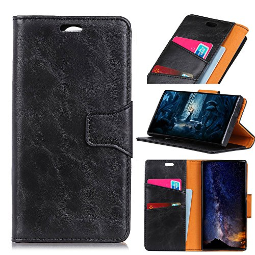 Happon BQ Aquaris X2 Case, Premium PU Leather Wallet Pouch Flip Cover Case Anti-Scratch Defender CoverCover for for BQ Aquaris X2 (Black)