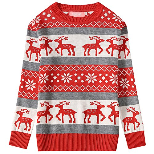 Camii Mia Big Girls' Reindeer Pullover Crewneck Ugly Christmas Sweater (Medium (10-12), Red Grey) -