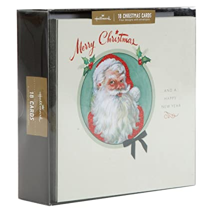 Hallmark - Tarjeta navideña (18 unidades), diseño de Papá Noel ...