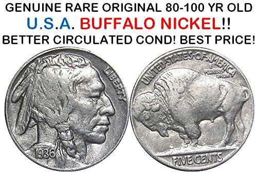 1936 Various Mint Marks CIRCULATED BUFFALO (INDIAN HEAD) NICKEL w CLEAR DATE! HISTORIC COIN, BEST PRICE! 5c F-VF