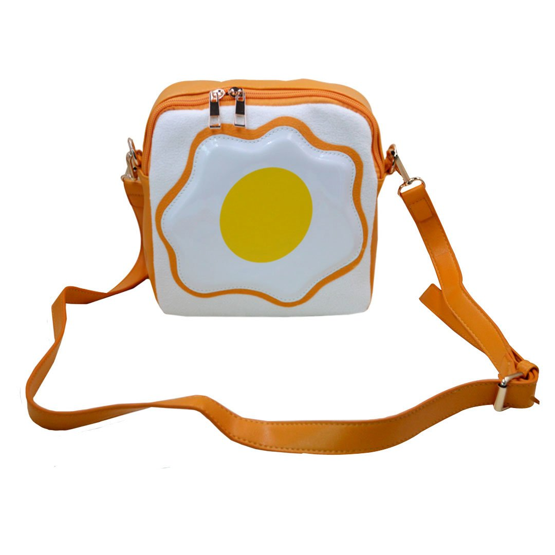 Monique Girls Women Cute Fried Egg Print Handbag Purse Mini Sling Bag Shoulder Bag Beach Travel Cross-body Bag Satchel