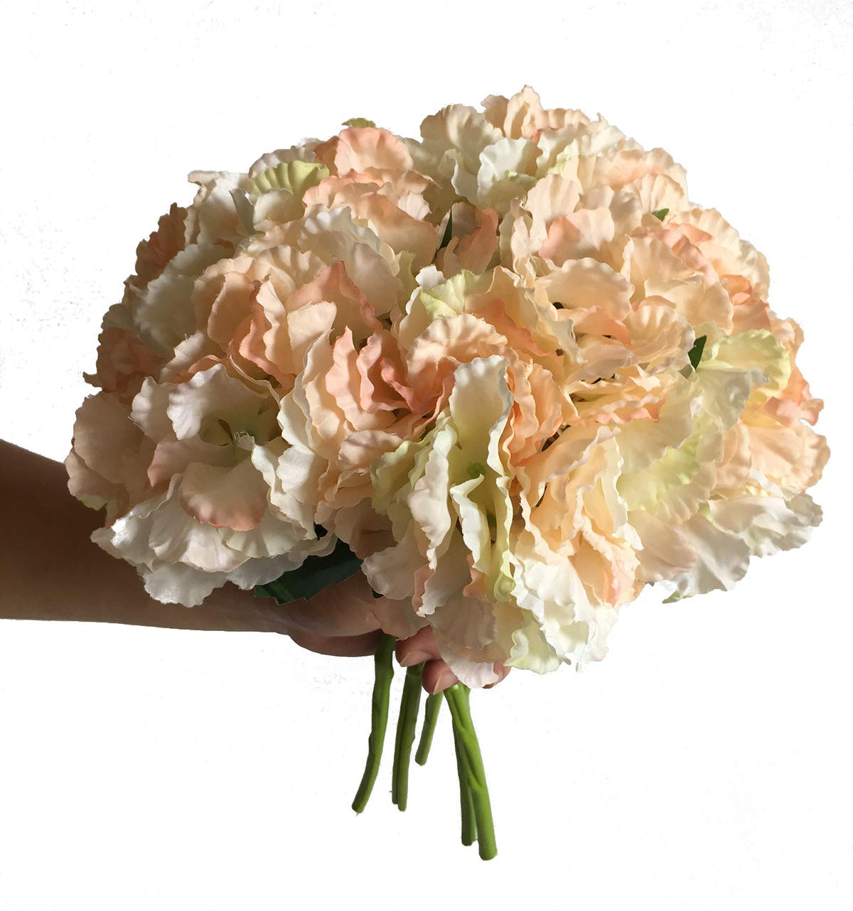 Artfen 5 Pack Artificial Hydrangea Flowers Fake Silk Bouquet Flower Home Hotel Wedding Party Decor Approx 14'' High Champagne