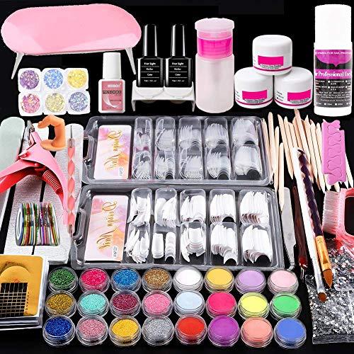 Acrylic Nail Kit With Everything, Nail Acrylic Powder and Liquid Set, comprises Nail Dryer/LED Lamp, 18 Glitter Powder, Base & Top Coat/Professional DIY Gel Nail Kit (WT2)