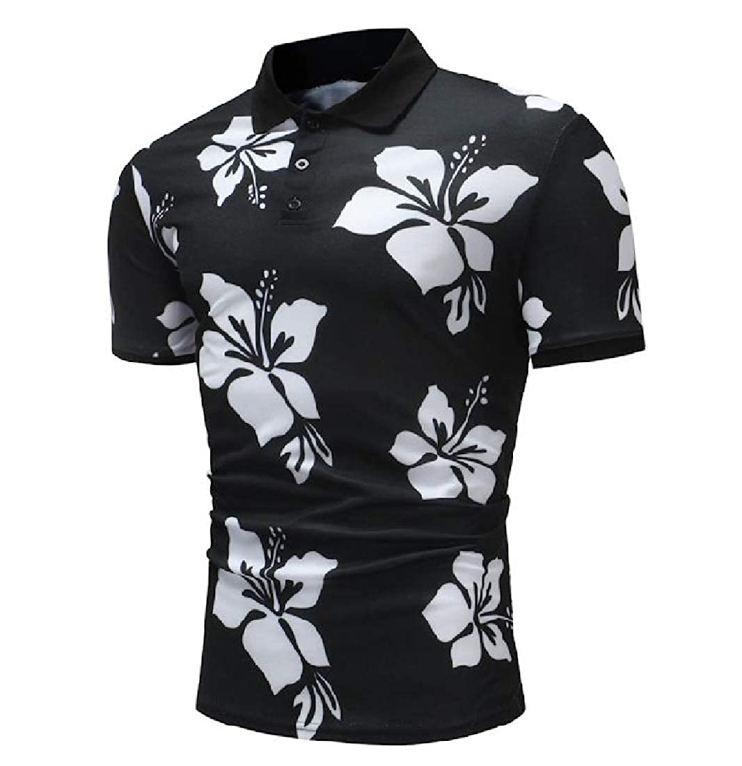 Comaba Mens Polo Relaxed-Fit Hipster Printed Comfort Soft Top Shirt