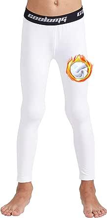 COOLOMG Pantalones de compresión para niños, leggings de baloncesto, medias 3/4, pantalones térmicos para correr para niños, jóvenes y niños pequeños