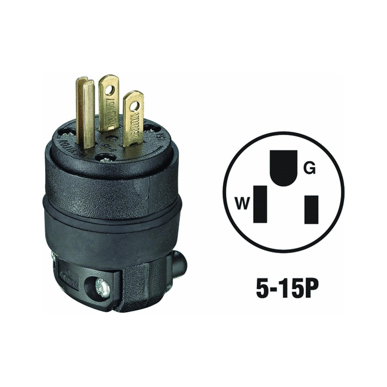 Leviton 515PR 6 Pack Rubber Back 3Wire 2 Pole Straight Blade Ground Plug