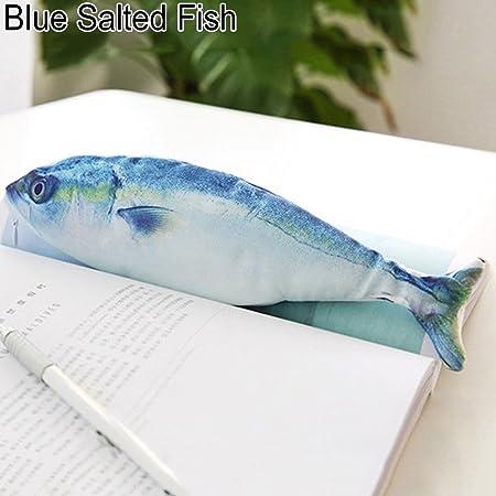 FOReverweihuajz Creative 3D - Estuche para lápices en forma de pez, bolsa de papelería escolar, bolsa de cosméticos, suministros de almacenamiento – 7 tipos está disponible Blue Salted Fish 4: Amazon.es: Hogar