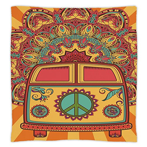 nket Custom Design Cozy Fleece Blanket,70s Party Decorations,Hippie Vintage Mini Van Ornamental Backdrop Peace Sign Decorative,Coral Orange Turquoise,Perfect for Couch Sofa or Bed (Peace Sign Fleece)