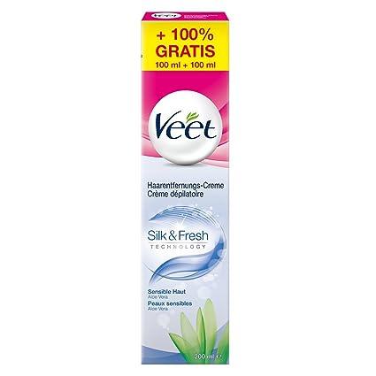 VEET Crema de eliminación de vello Silk y Fresh Pieles Sensibles, 200 ml (100