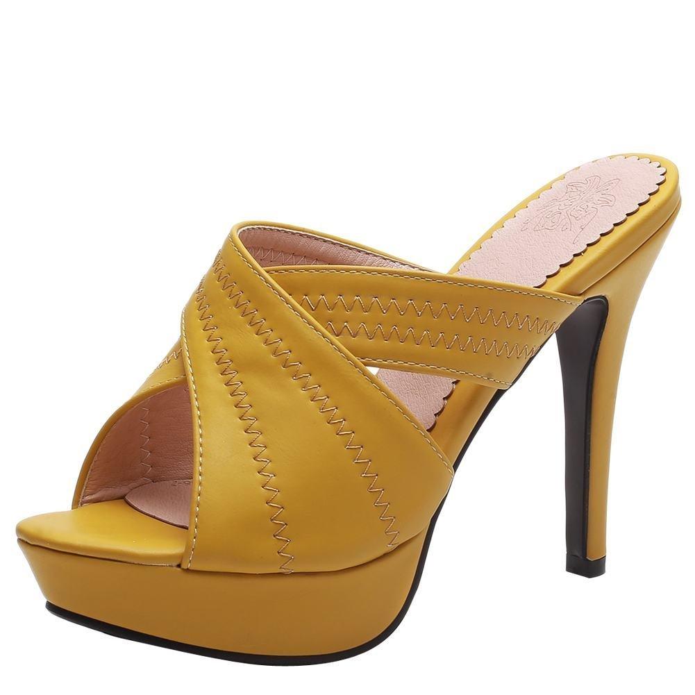 YE Damen Offene High Heels Plateau Mules Slingback Sandalen Stilettos Pantoletten Sommer Elegant Party Schuhe  41 EU Gelb