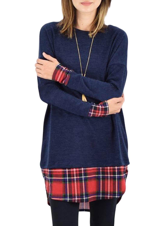 FARYSAYS Women's Fashion 2018 Long Sleeve Crewneck Loose Patchwork T Shirt Blouses Tunic Tops Blue Large