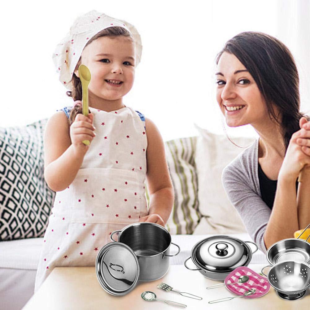Courti 12 Pezzi Giochi da Cucina per Bambini Pentole in Acciaio Inossidabile Cucchiai Pentole Gioca Accessori da Cucina Giocattolo Pentole per Bambine Strumento di Apprendimento