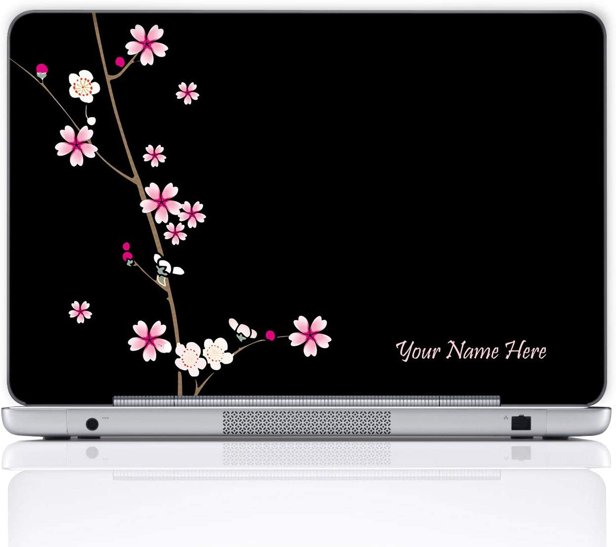 Meffort Inc Personalized Laptop Notebook Notebook Skin Sticker Cover Art Decal, Customize Your Name (15.6 Inch, Plum Blossoms)