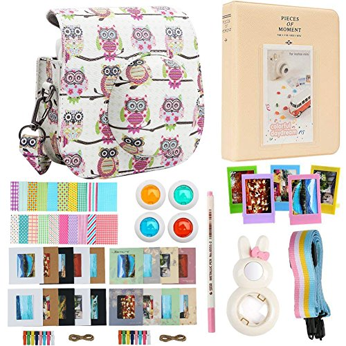 Alohallo Instax Mini 9 Mini 8 Mini 8 + Accessories for FujiFilm Instax Mini 8/8+/9 Instant Film Camera with Camera Case/Lens/Mini Album/Color Frame/Sticker/Strap/Pens/Filter(Owl A)