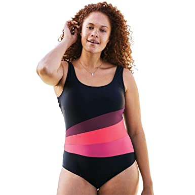556cceb146 Woman Within Plus Size Aquabelle Scoop Neck Maillot Swimsuit - Black  Eggplant