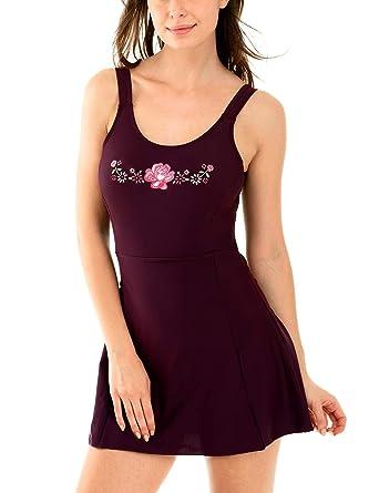 2182ec38b0cca DELIMIRA Women s Plus Size Swimwear Built in One Piece Skirted Swimsuit  Bathing Suit Dark Red US