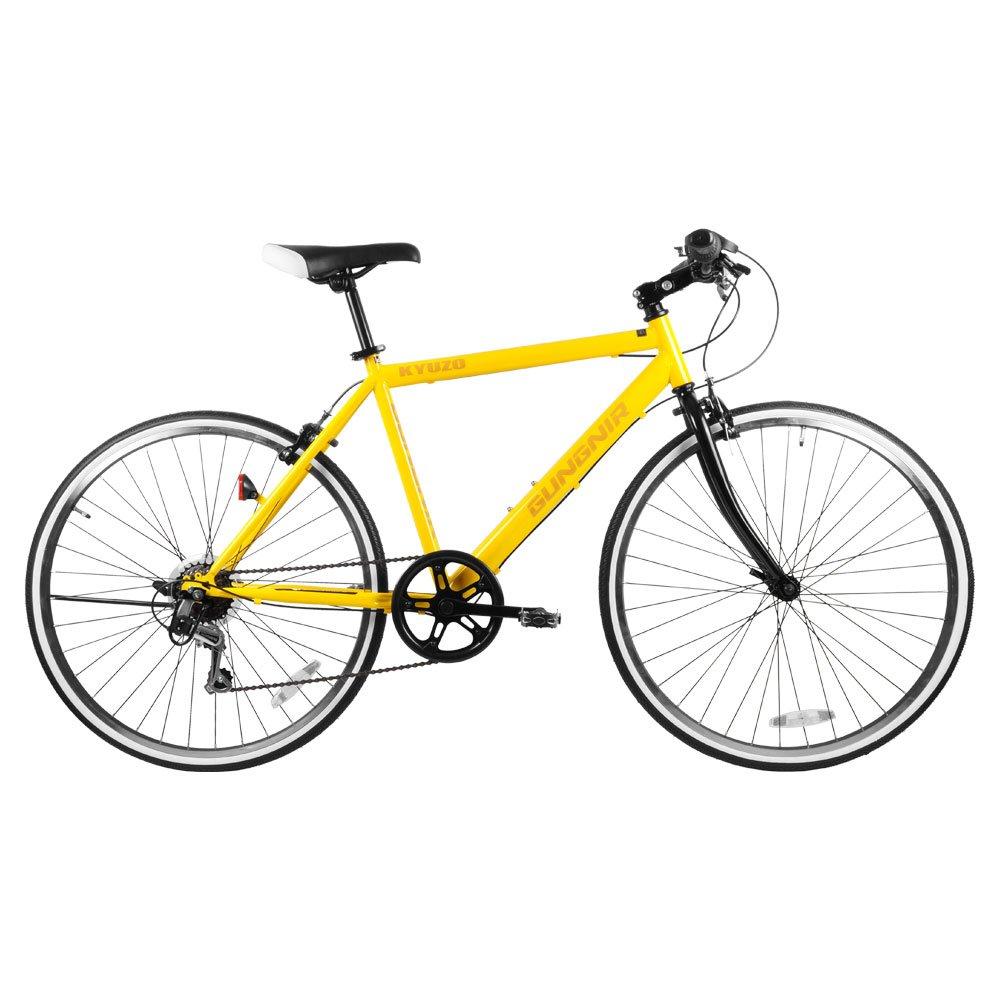 KYUZO クロスバイク自転車 26インチ 外装6段変速付き KZ-107 GUNGNIR B07BT66K3Z アフリカイエロー アフリカイエロー