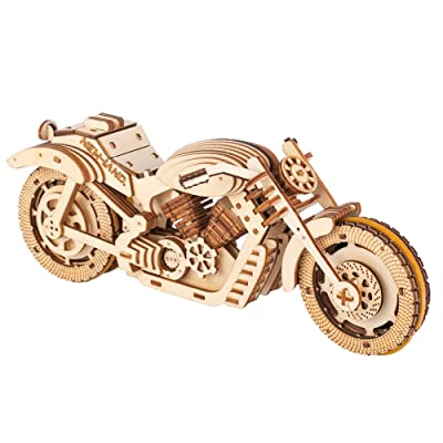 Motorbike Toy Mechanical Model 3D Wooden Puzzle Eco Wooden Toys 3D Assembly Model Brain Teaser for Adults and Kids Self Propelled Movable Gears 3D Puzzle Toy Great Gift for He/She Boyfriend,Husband: Toys & Games
