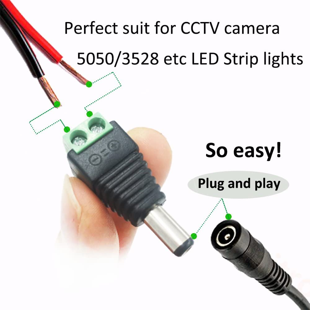 DC 5.5 x 2.1mm Power Plug Connector Male Right Angle Jack Cord Cable Wire JH