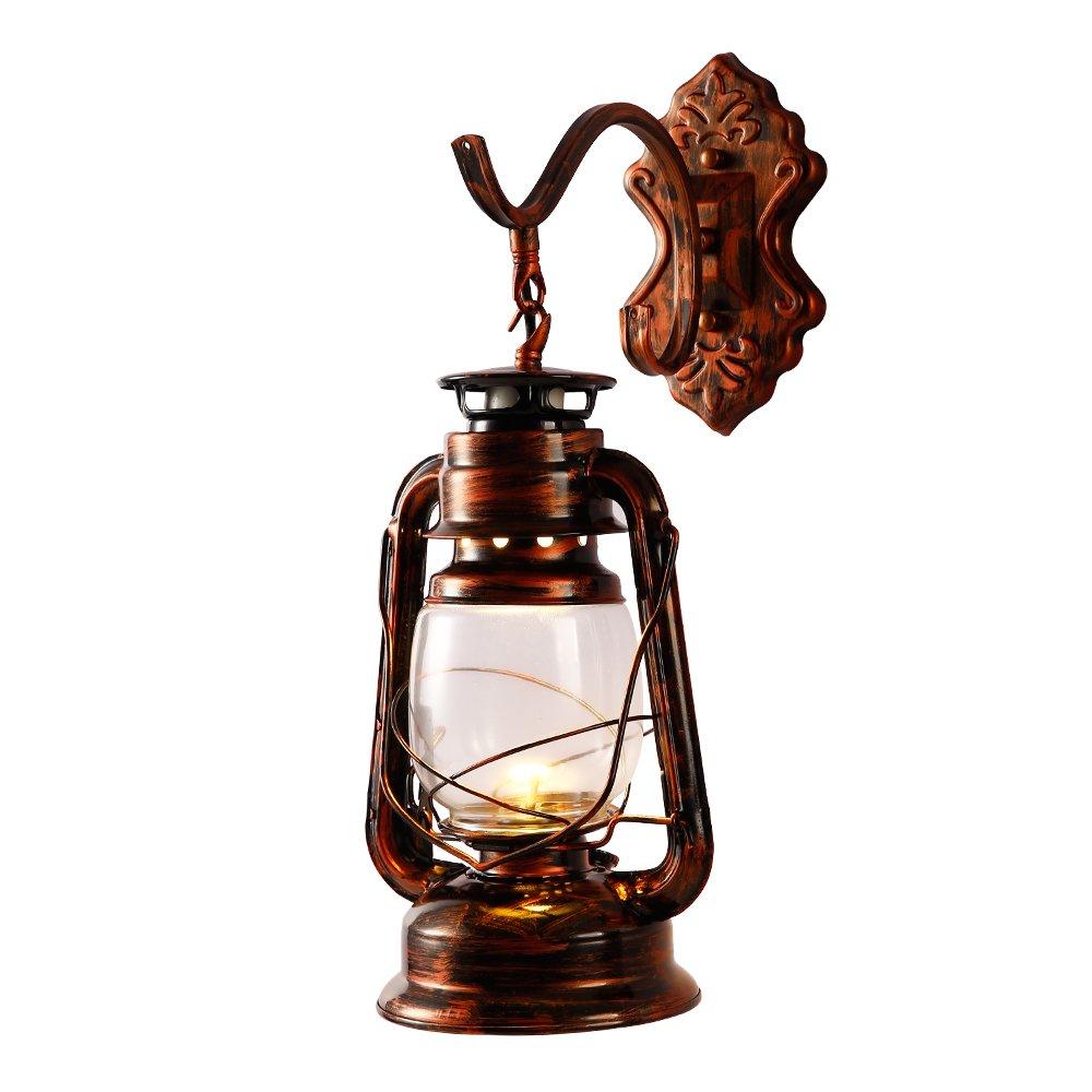 INJUICY Kerosene Wall lantern Light, Vintage Metal & Glass Wall Sconce Lights for Bedroom Living, Dining Room, Cafe Bar, Hallway Decor
