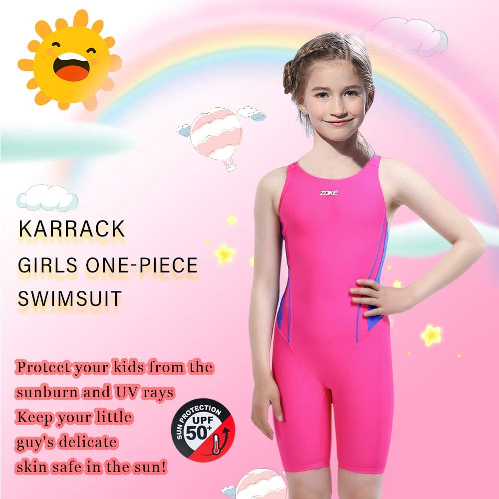 Karrack Girls Swimming Suit Sports Conjoined Girls Training Competition Children Swimming Suit