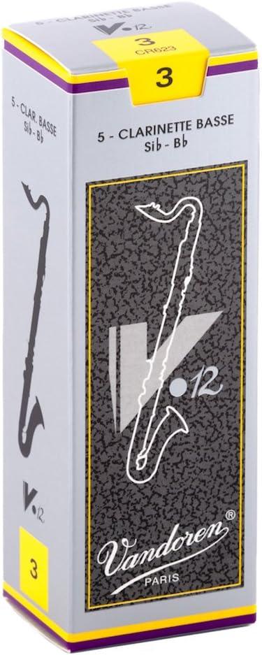 Vandoren CR623 Bass Clarinet V.12 Reeds Strength 3; Box of 5
