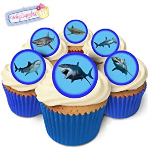 24 Fabulous Pre-Cut Edible Wafer Cake Toppers: Sharks