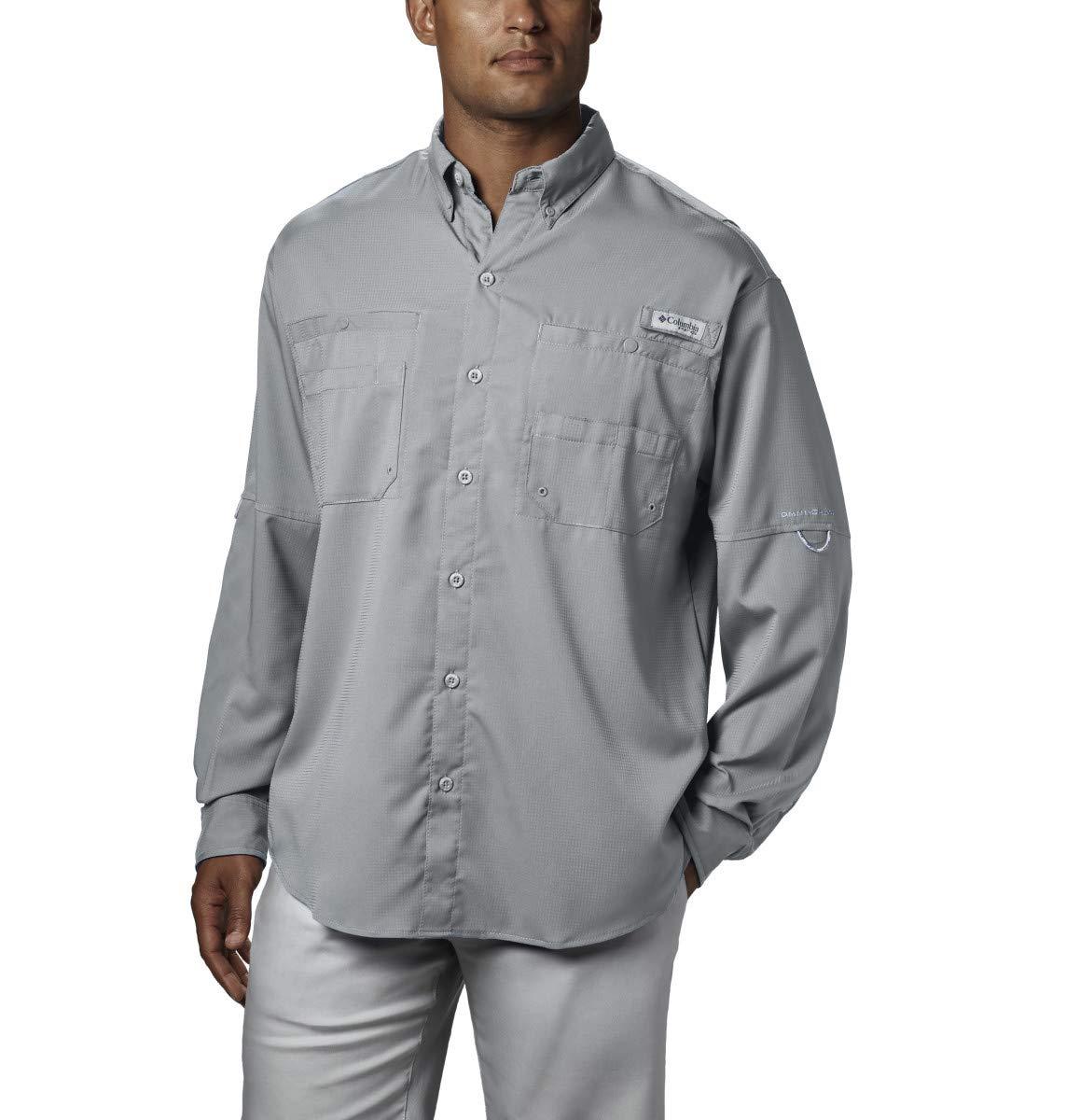 Columbia Men's PFG Tamiami II Long Sleeve Shirt - Big , Cool Grey, X-Small
