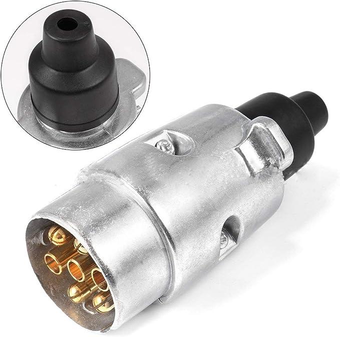 Kongqiabona 7 broches prise en aluminium de 12 volts connecteur de c/âble de camion multifonctionnel de type europ/éen signal de remorque signal daffichage