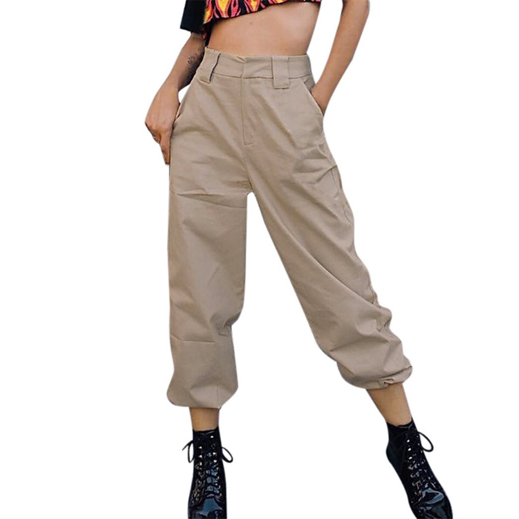 405301d681cdc3 Vovotrade Damen Freizeithose Jogginghose Hose Damen Beiläufig Harem  Ausgebeult Hüfte Hop Tanzen Joggen Schweiß Hose Slacks Trousers (Khaki, ...
