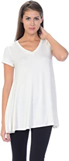 product image for Jubilee Couture Women's Solid Color V-Neck Short Sleeve Flare Tee Shirt Top - Made in USA (Medium,Ivory)