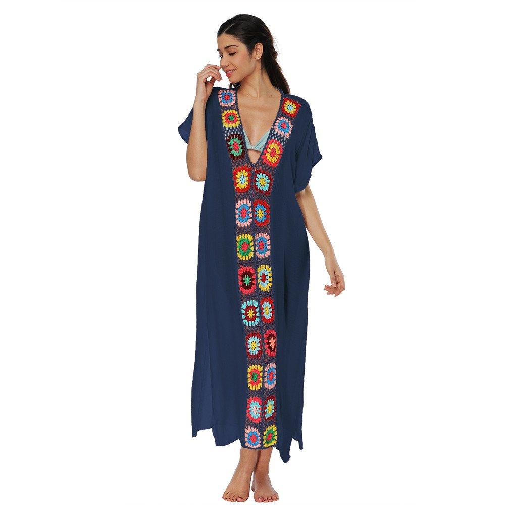 ShiTou Beach Blouse, Bikini, Splicing Maxi Skirt, Beach Gown, Blouse Dress (Beige) at Amazon Womens Clothing store: